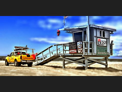 beach vote (Kris Kros) Tags: beach yellow photoshop truck toy photography miniature high nikon dynamic shift pickup mini lifeguard kris shack vote tilt range hdr kkg cs3 photomatix kros kriskros 1xp lovethepov kkgallery