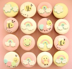baby shower cupcakes (hello naomi) Tags: cloud baby chicken cakes apple shower cupcakes rainbow sweet treats frog bee caterpillar ap