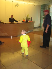 Daddy's building lobby on Halloween