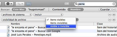 Captura de pantalla de Spotlight en Mac OS X con la búsqueda final mostrando archivos ocultos y de sistema