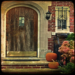 Harvest Doorway (mbgrigby) Tags: door flowers autumn light brick fall texture stairs pumpkins doorway ttv hanoverst fallrivermassachusetts mbgrigby wroughtiront