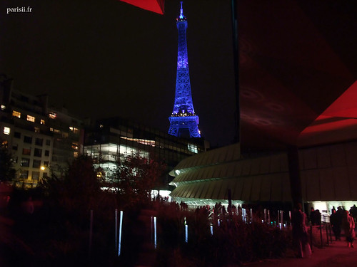 Musée et Tour Eiffel de nuit