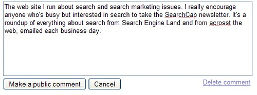 SearchWiki Comment