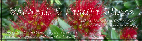 Rhubarb and Vanilla Mince Label