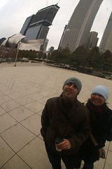 self-portrait reflection with the jay pritzker pavilion in the background