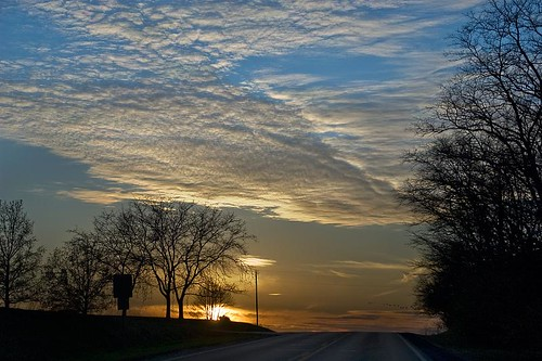 Sunset on US 40 in Illinois