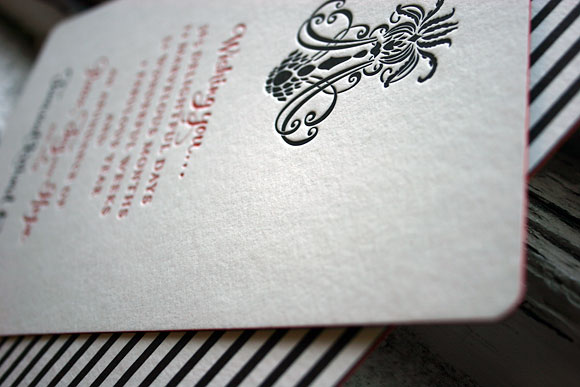Custom letterpress holiday cards - red edge painting! - Smock