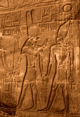Amun-Re and Alexander the Great. (Inopos) () Tags: africa vacation holiday art writing temple ancient ruins king tour desert god northafrica 911 egypt pharaoh desierto publicart egipto alexander september11 luxor ramadan rtw wallpainting gypten egitto vacanze hieroglyphs thebes egypte wste roundtheworld ancientegypt afrique dsert  hieroglyph antiquities wallpaintings globetrotter greathouse northernafrica amunra luxortemple eastbank   alexanderthegreat templeofluxor  amunre worldtraveler upperegypt aluqsur  wallcarvings alexandrelegrand barqueshrine privatetour  qina  inopos     iptrsyt greekamun  thegreekamun desertumafricanum