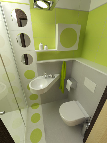 Green paint Bathroom in private apartament, Warsaw by InsideLab