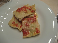 Ravioli with artichoke heart filling and fresh tomato sauce
