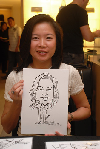 Caricature live sketching for Bulgari Christmas Brunch - 4
