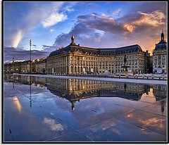 Blessed In Bordeaux (Nathan Bergeron Photography) Tags: sunset sky france reflection architecture clouds reflections geotagged interestingness europe bordeaux unesco worldheritagesite symmetrical placedelabourse aquitaine gironde blueribbonwinner explored miroirdeau yearinfrance theunforgettablepictures tup2 multimegashot simplystunningshots francesmasterpieces geo:lat=4484169 geo:lon=0569272 dopplr:explore=6081
