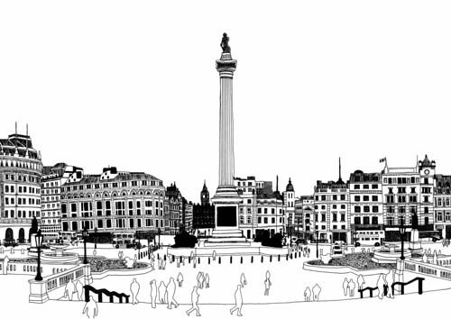 Trafalgar Square Lions Drawing London Trafalgar Square