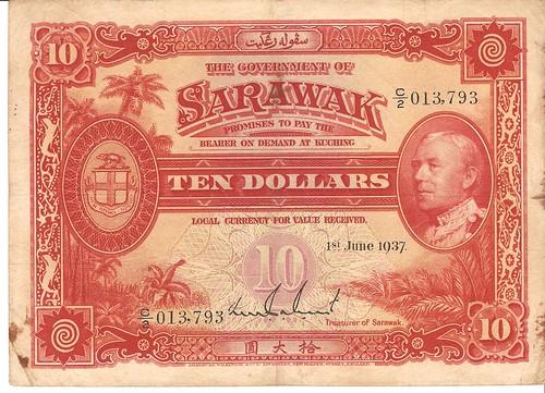 $10 1/6/1937 Sarawak Bank Note