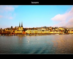 Luzern.......... (Indranil.m) Tags: blue sky cloud lake water canon landscape peace luzern scenary lucerne indranil mukherjee 450d 2008november
