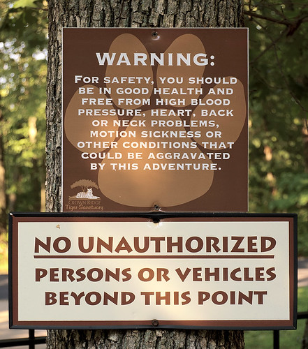 Sign at Crown Ridge Tiger Sanctuary, in Sainte Genevieve County, Missouri, USA