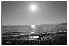 Giochi di bimbi / Kids games (G.hostbuster (Gigi)) Tags: sea bw sun reflection beach backlight stars mare child liguria bn bimbo sole spiaggia controluce onde stelle ghostbuster sestrilevante riverbero gigi49