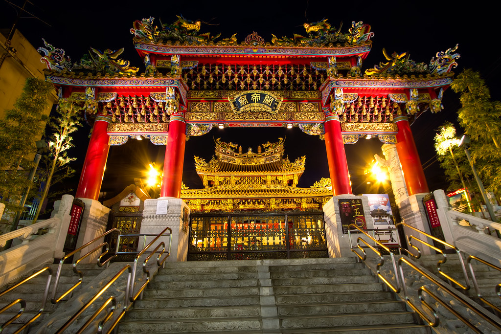 Illuminated Temple in Chinatown
