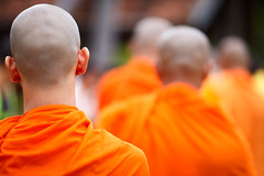 Monks (Bakh2013) Tags: boy red people orange male men closeup finland asian thailand religious asia cambodia silent head robe burma buddhist faith religion group young bald culture monk buddhism tibet monastery malaysia offering alm ritual myanmar tradition laos eastern pilgrimage saffron