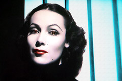 Paradisical Latin Movie Star Dolores Del Rio TV Shot (Walker Dukes) Tags: red portrait woman brown black sexy green beautiful face lines female hair nose intense eyes long skin smooth lips full mysterious striking luminous unforgettable lovable charismatic desirable