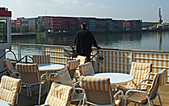 Leaving Nuremberg: From the Sundeck (bill barber) Tags: germany deutschland bavaria canal bill main william franconia elements barber alemania nuremburg tyskland allemagne bundesrepublik germania alemanha duitsland deutsche photoshopelements pegnitz lallemagne nrnburg rhinemaindanube frankonia doitsu niemcy njemaka saksa nmetorszg njemacka  nemecko germnia