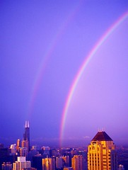 Double Rainbow over Chicago (doug.siefken) Tags: city urban chicago art skyline painting geotagged photo moving rainbow artwork long flickr downtown foto image searstower doug favorites content images r fotos getty form douglas streeterville nontraditional emergent chicagoan siefken dougsiefken douglasrsiefken justchicagoart