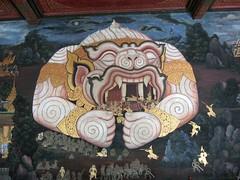 Hunaman Murals at Wat Prakaew หนุมานอมพลับพลา