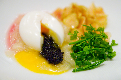 soft cooked egg with onion soubise and chips