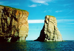 Roche Perce (jglsongs) Tags: blue canada rock formation qubec stlawrence scanned roche perce gasp gaspepeninsula 5photosaday scannedfromprints rochepercer