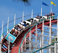 Giant Dipper Coaster Fun, San Diego (moonjazz) Tags: california wood family summer history smile speed happy amusement hands track ride sandiego zoom belmont fear joy free down tourist scream shake roll rollercoaster cheer merry coaster loud yell challenge thrill exciting missionbeach momentum rattle dipper 5photosaday