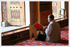 Man praying in the Blue Mosque in Istanbul ([mak]) Tags: blue turkey muslim islam prayer religion türkiye istanbul mosque turquie turkish