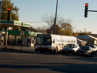 Westbound Addison Street CTA bus at Harlem Avenue. Chicago Illinois. October 2006.