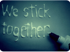 we stick together. (Kristine May.) Tags: blue handwriting glue we explore together iloveyou stick frontpage ahhhhh elmersglue