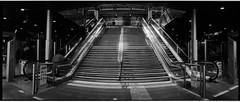 Spaceship (giuli@) Tags: blackandwhite bw film scale stairs analog geotagged campania metro iso400 horizon trix steps panoramic 400tx napoli naples kodaktrix tubestation stazione metropolitana horizon202 nonluoghi montesanto scalinata nonplace cumana gradini kodaktrix400 blackandwhitefilm nonlieux giuliarossaphoto noawardsplease nolargebannersplease geo:lat=40847299 geo:lon=14245823