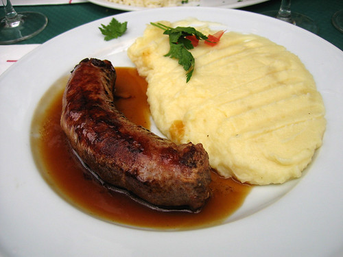 Country sausage and mashed potatoes