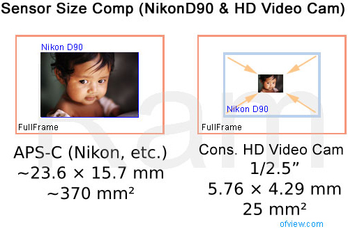 Sensor size comparison -- Nikon D90 vs HD Video Camera, by Ramz of .of View.com
