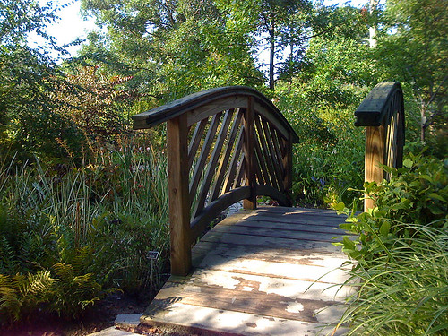 Wooden footbridge at Brookside Gardens in Wheaton, Maryland - Taken With An iPhone