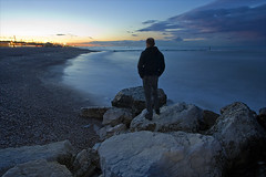 Looking the sea (Claudio / www.claudiocoppari.com) Tags: longexposure sunset sea italy selfportrait night tramonto mare tagged autoritratto lonely thatsme marche ancona efs1022 marinadimontemarciano