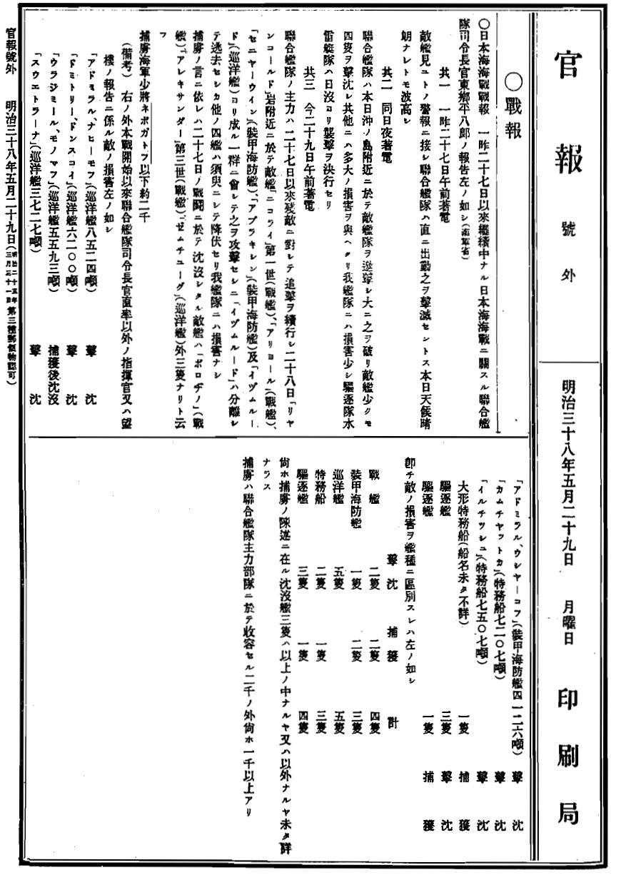 1905 0529 官報号外 Adomiral Togo(東郷平八郎)'s report_1