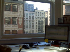 My new desk in our new office has nice light and a good view.