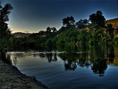 Lake Solano (youneverknowphotography) Tags: blue trees sky cloud lake green fall water leaves canon dark landscape outside outdoor horizon powershot september hills clear adobe shore ripples bushes solano hdr picnik lightroom g7 photomatix