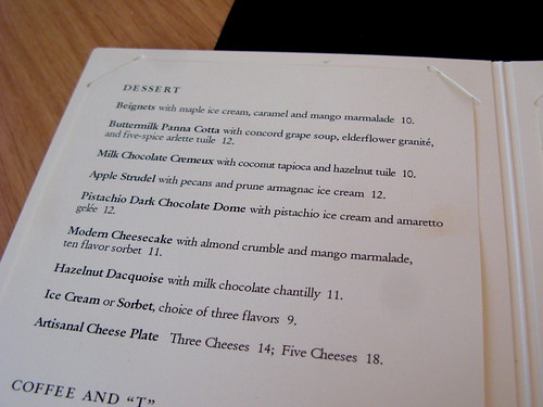 Dessert menu at the Modern Bar Room