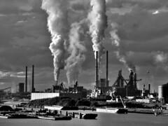 smoke (Tadgh ó Maoildearg) Tags: sky bw holland netherlands steel smoke explore ijmuiden blackwhitephotos