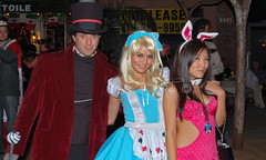 The Mad Hatter, Alice and not-so-white Rabbit