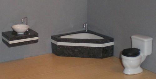ELF black and white bathroom set, 1/12th scale