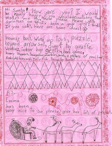 Sarah's letter to Santa - Christmas 2008