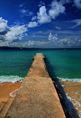 The Pier at Doctors Cave Beach (Jeff Clow) Tags: ocean travel sea tourism beach pier bravo raw jamaica montegobay doc