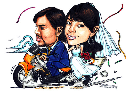 wedding couple caricatures on motorbike 171208