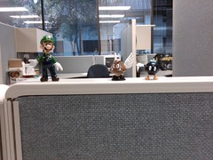 I'm feeling a bit better about work so I brought these guys in to decorate my cube.