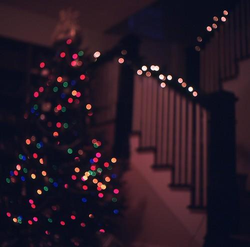 defocused christmas tree